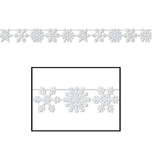 Club Pack of 12 Silver Glittered Snowflake Streamer Christmas Decorations - 12'