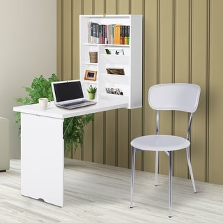 Link to HOMCOM Compact Fold Out Wall Mounted Convertible Desk With Storage, White Similar Items in Computer Desks