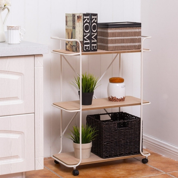 Costway 3 Tier Metal Rolling Cart Storage Rack Shelves Display Utility Organizer White by Generic