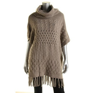 Autumn Cashmere Womens Cashmere Blend Fringe Poncho Sweater - o/s