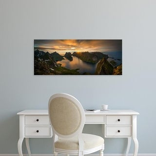 Easy Art Prints Panoramic Image 'Islands in sea, Moskenesoya, Lofoten Archipelago, Nordland County, Norway' Canvas Art