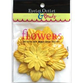Eyelet Outlet Flowers 40/Pkg-Yellow