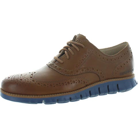 Cole Haan Zerogrand Men's Brogue Leather Wingtip Oxfords - Monks Robe Leather