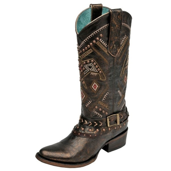 Corral Western Boots Womens Studded Harness Distressed Bronze