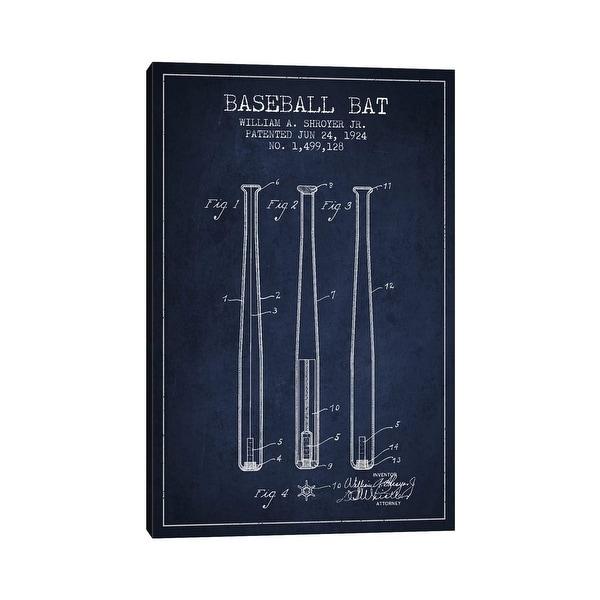 "iCanvas ""Baseball Bat Navy Blue Patent Blueprint"" by Aged Pixel Canvas Print. Opens flyout."