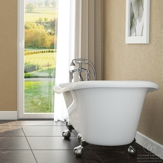 Pelham & White Luxury 60 Inch Clawfoot Slipper Tub with Nickel Ball and Claw Feet