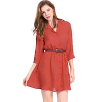 Allegra K Women Polka Dots 3/4 Sleeves Above Knee Belted Shirt Dress