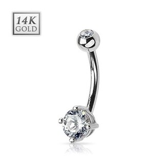 "14 Karat Solid White Gold Navel Belly Button Ring with Prong-Set Round CZ - 14GA 3/8"" Long"