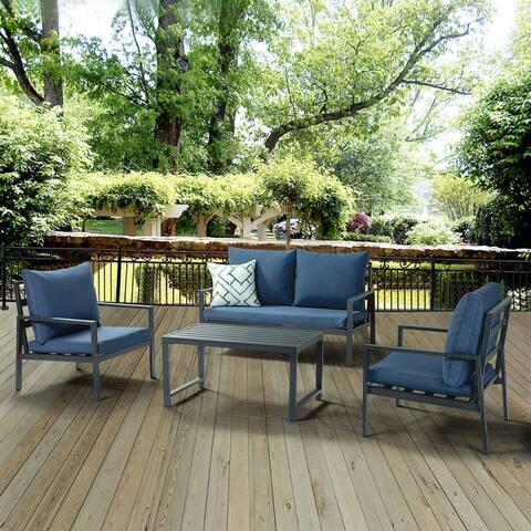 Gaya outdoor Aluminum 4 Piece Sofa Set with Cushions