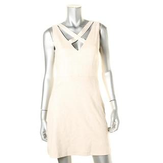 WAYF Womens Faux Suede Criss-Cross Front Evening Dress - S