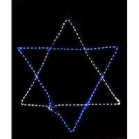 "15"" Blue and White LED Rope Light Star of David Hanging Hanukkah Decoration"