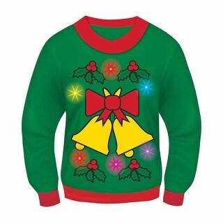 Green Musical Light-Up Jingle Bells Adult Ugly Christmas Sweater