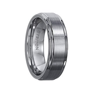 EDWIN Raised Brush Finished Center Tungsten Carbide Comfort Fit Ring with Bright Polished Step Edges by Triton Rings - 7 mm