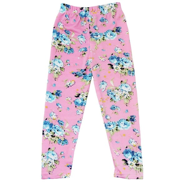 Baby Girls Pink Blue Floral Print Elastic Waist Stretchy Leggings