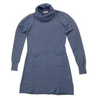 Cashmere Company VESTITO COLLO ALT BLU Blue Cashmere Blend Rolled Neck Dresses