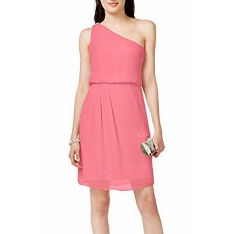Adrianna Papell NEW Pink Women's Size 16 One Shoulder Chiffon Dress