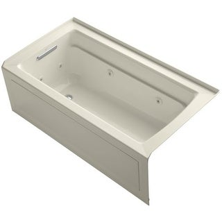 """Kohler K-1122-LA Archer Collection 60"""" Three Wall Alcove Jetted Whirlpool Bath Tub with Left Side Drain"""