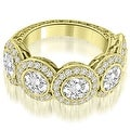 3.18 cttw. 14K Yellow Gold Antique Halo Cluster Diamond Ring - Thumbnail 0