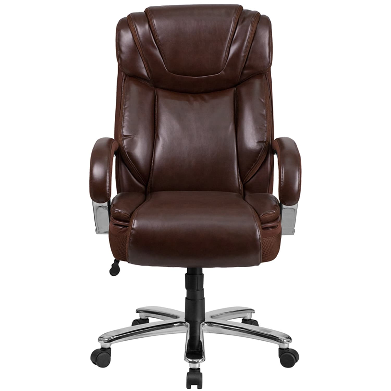 Aberdeen Big Tall Brown Leather Executive Swivel Chair W Extra Wide Seat