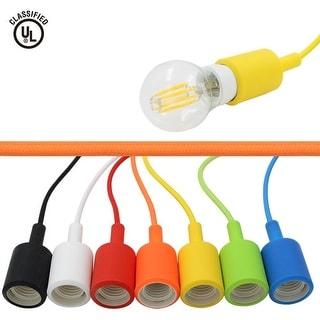 UL-listed Single Socket Pendant Light Fixture (Multi-color), Textile Insulating Lamp Cord, Silicon E26/E27 Lamp Holder