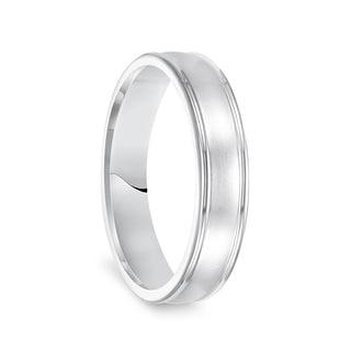 14k White Gold Brushed Finish Womens Wedding Ring With Polished Round Edges 5mm