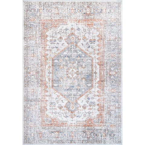 nuLOOM Traditional Distressed Cameo Medallion Area Rug