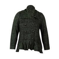 INC International Concepts Women's Ruffled Sweater Cardigan - Charcoal - 0X