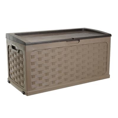 71 Gallon Rattan Deck Box, Mocha/Brown