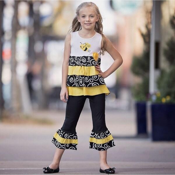 AnnLoren Baby Girls Yellow Bumble Bee Tunic 2 Pc Capri Pants Outfit
