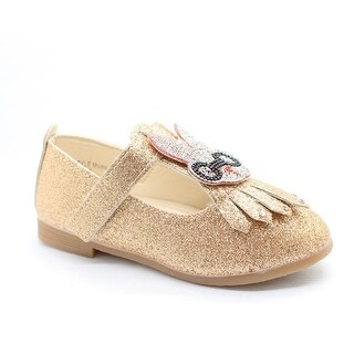 Little Girls Gold Studded Bunny Detail T-Strap Dress Shoes