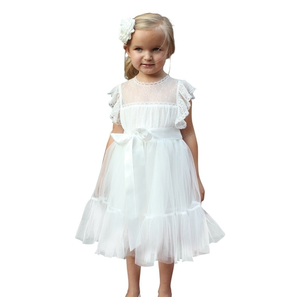 Shop think pink bows little girls off white lace tulle paris flower think pink bows little girls off white lace tulle paris flower girl dress 2 mightylinksfo