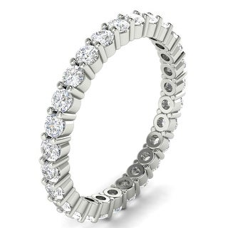 0 80 CT Shared Prong Round Cut Diamond Eternity Wedding Band In 14KT