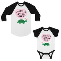Turtley Love Baby Mom Mom and Baby Matching Baseball Shirts Gifts