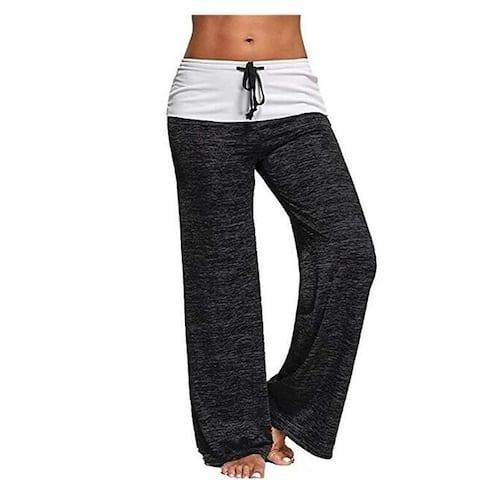 Womens Pajama Pants Comfy Stretch Drawstring Palazzo Lounge Pants Wide Leg Casual Pants