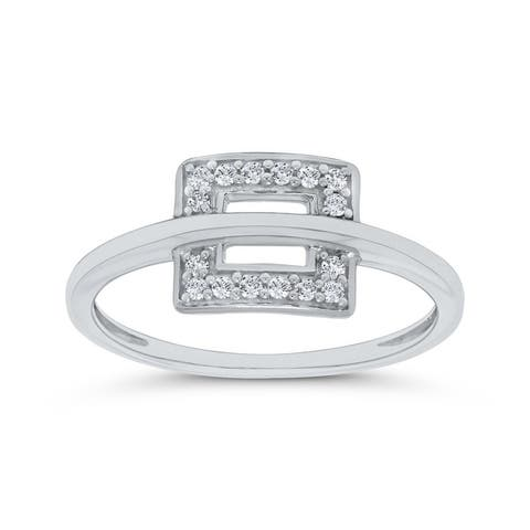 10K White Gold 1/10ct TDW Diamond Open Circle Ring (I-J, I1)