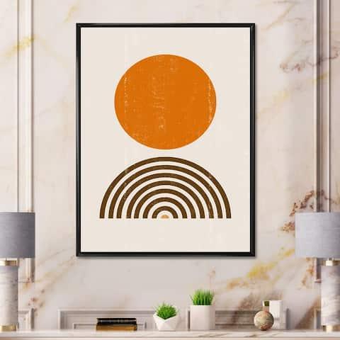 Designart 'Abstract Minimal Orange Sun and Rainbow I' Modern Framed Canvas Wall Art Print
