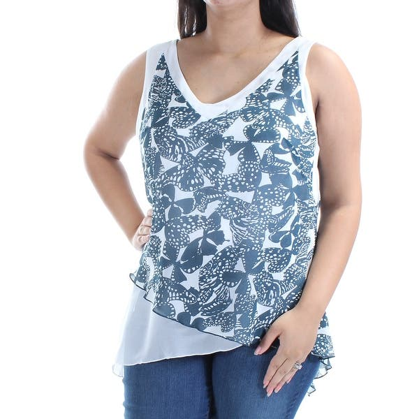 d730153786886 Shop Womens Green Animal Print Sleeveless V Neck Top Size 12 - Free ...