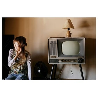 """Young woman and TV"" Poster Print"