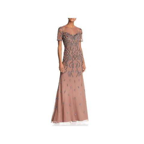 Aidan Mattox Womens Formal Dress Beaded Illusion