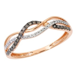Prism Jewel 0.15Ct Round Natural Brown & White Diamond Twisted Anniversary Ring
