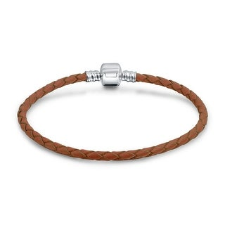 Bling Jewelry Cocoa Brown Braided Leather Cord Barrel Clasp Bracelet .925 Sterling Silver