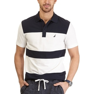 Nautica Short Sleeve Colorblock Polo Shirt White and Navy Medium M