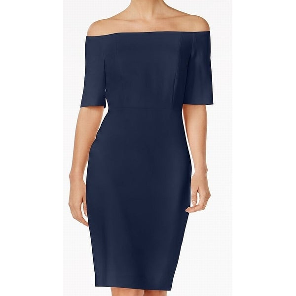 468ea02a8f6 Shop Calvin Klein NEW Navy Blue Womens Size 12 Off-Shoulder Sheath Dress -  Free Shipping Today - Overstock - 21673669