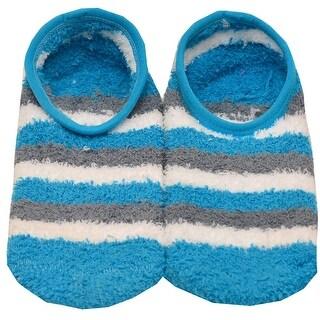 Girls Turquoise Grey Stripe Pattern Fuzzy Non-Skid Sole Slipper Socks 9-11