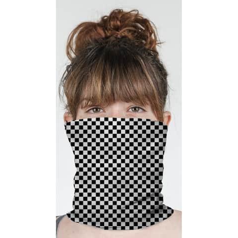"CHECKER BOARD BLACK & WHITE Neck Gaiter By Kavka Designs - 10"" x 18"""