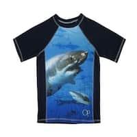 OP Boys Royal Blue Shark Image Print Short Sleeve Rashguard