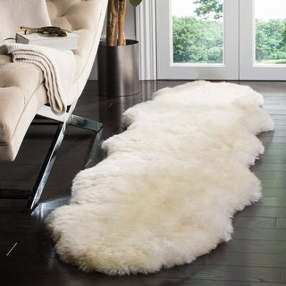 Link to Safavieh Handmade Sheep Skin Aybek Shag Solid Sheepskin Rug Similar Items in Shag Rugs