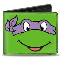 Classic Tmnt Donatello Face Close Up Green Purple Bi Fold Wallet - One Size Fits most