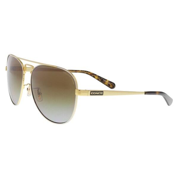 cc9ae8121c Shop Coach HC7069 9295T5 Gold Silver Dk Tort Gold Aviator Sunglasses ...