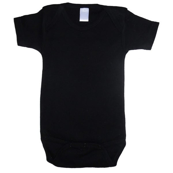 Bambini Baby Unisex Black Cotton Interlock One Piece Bulk Bodysuit 6-12M